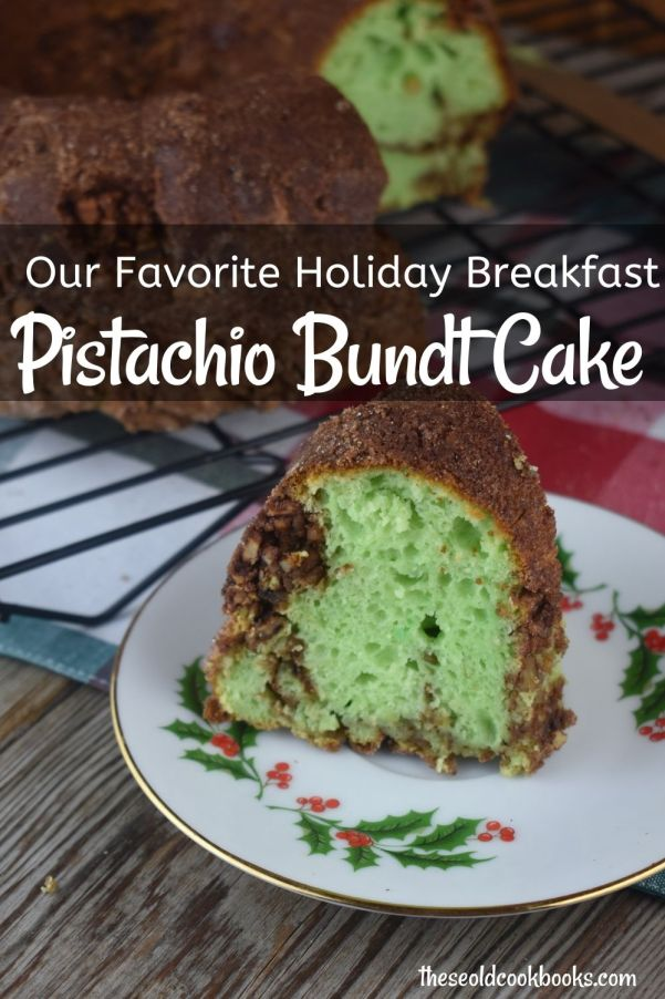 This easy-to-make Pistachio Coffee Cake is not only delicious but is also pleasing to the eye with its bright green inside. It is perfect for a special family breakfast but can be easily made any day of the week.