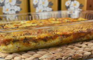 Egg and Sausage Breakfast Casserole is a simple breakfast option with just seven ingredients including ground sausage, eggs, cheese, leftover bread, dry mustard, salt and milk.