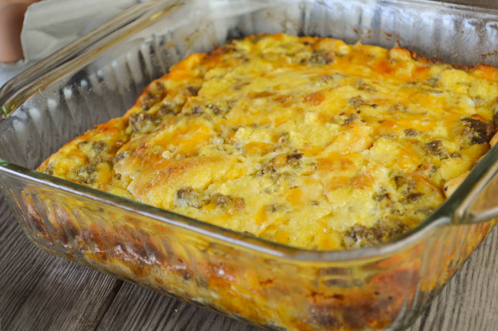 Egg and Sausage Breakfast Casserole Recipe using White Bread