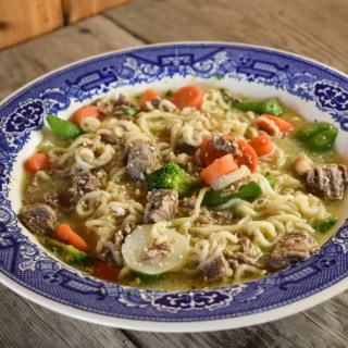 This Instant Pot Beef Ramen Bowls recipe uses beef stew meat, frozen vegetables and instant ramen noodles to make a flavorful meal the entire family will enjoy. This is also a great way to use a leaner, tougher cut of beef to cut up into stew meat.
