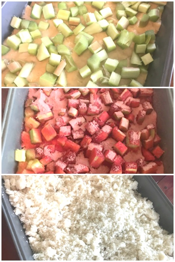 Grandma's Rhubarb Streusel Dessert starts with fresh rhubarb, adds strawberry jello and finishes with a crumb topping.