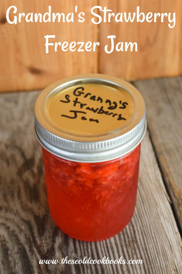 Our Grandma's Strawberry Freezer Jam recipe is quick and easy to make.  Perfect for those fresh strawberries we all enjoy during the summer months, this strawberry freezer jam is simple to put together.