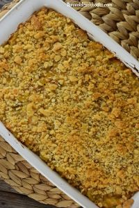 Salmon Casserole features canned salmon, macaroni, cream of celery soup and cheese.