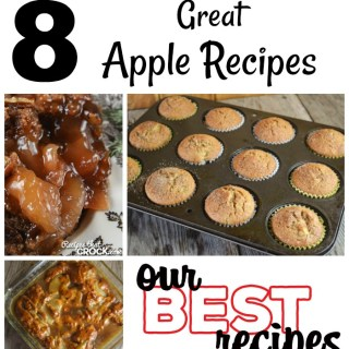 These 8 Great Apple Recipes include sweet and savory family favorites like Caramel Apple Coffee Cake, Crock Pot Cinnamon Apples, Crock Pot Apple Pork Chops and more!
