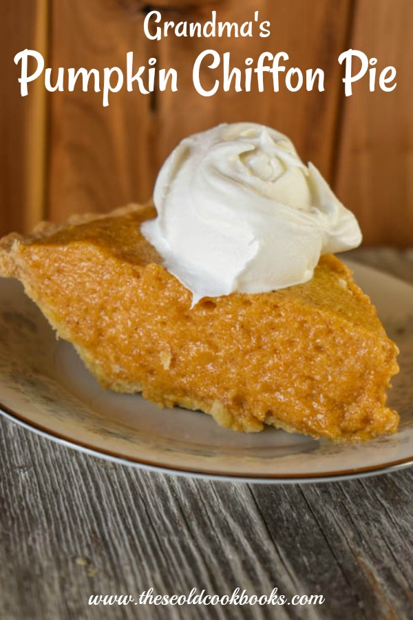 Grandma's Pumpkin Chiffon Pie is a simple, creamy no-bake alternative to the traditional pumpkin pie.
