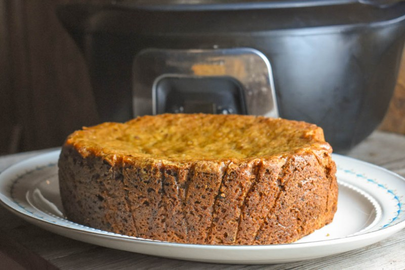 Crock Pot Banana Bread is an easy recipe that makes the equivalent of 2 loaves of bread when baking in the oven.