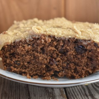 Old-Fashioned Boiled Raisin Cake with Brown Sugar Frosting is a spice cake featuring raisins cooked in brown sugar.