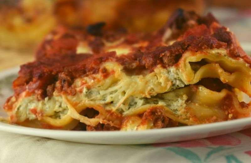 Aunt Shannon's Extra Cheesy Beef Lasagna features up to four different cheese and is a hearty meal the entire family will enjoy. You can use ricotta cheese or cottage cheese (or a combination of both) to make the cheese mixture that holds this lasagna together as you dish it out.