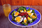 This Classic Spinach Salad consists of only three simple ingredients - fresh spinach, bacon and hard boiled eggs - and our homemade vinaigrette dressing.. The combination of these ingredients is not only gorgeous but a match made in heaven. This salad pairs perfectly with a simple homemade vinaigrette dressing of red wine vinegar, Dijon mustard, olive oil, salt and pepper.
