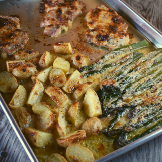 Sheet Pan Ranch Chicken and Vegetables features thinly pounded pieces of chicken (breast or thigh), diced potatoes and stalks of asparagus dressed in a delicious ranch sauce baked on a single sheet pan.  It's a one pan plan in less than thirty minutes.