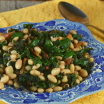Sauteed Swiss Chard and White Beans is an Italian-inspired side dish that comes together quickly with only 4 ingredients---Swiss chard, olive oil, garlic and white beans.