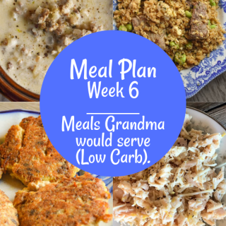 The Weekly Meal Plan for Week 6 includes all Low Carb Recipes including 4 Ingredient Chicken Legs, Mashed Cauliflower in the Instant Pot, Baked Spaghetti Squash Casserole, Beef Fried Cauliflower Rice, Chorizo Taco Soup, Lemon Chicken Salad, Tuscan Soup with Sausage, Salmon Patties and Sesame Broccoli.