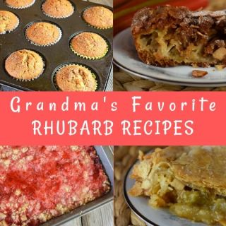 Our Grandma always had a rhubarb plant growing in the yard, and she made the most delicious rhubarb recipes around. We are serving up all of Grandma's Favorite Rhubarb Recipes just in time for rhubarb season.  These ten rhubarb recipes will have your family begging to plant a rhubarb in your own yard.