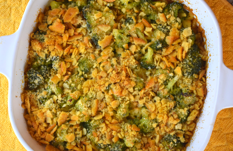 Are you looking for the best ever broccoli casserole recipe?  This fresh broccoli casserole with 4 ingredients is cheesy, buttery, crunchy and perfect.  Fresh broccoli, butter, Ritz crackers and American cheese combine for a family-pleasing side dish.