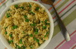 Easy Rice Pilaf with Peas is an easy side dish to complement your regular dinner menu.  The recipe consists of five simple ingredients--white rice, broth, butter, onions and peas.  This is an easy way to add some vegetable to your kids diet without complaints.