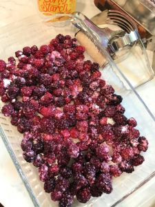 Cover the bottom of baking dish with blackberries.