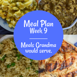 The Weekly Meal Plan for Week 9 includes Easiest Grilled Chicken Ever, Fresh Broccoli Casserole, Dirty White Russian Cocktail, Instant Pot Sweet and Sour Pork, Rice Pilaf with Peas, Chicken Bow Tie Pasta Salad, Flank Steak Salad, Cheesy Taco Dip, Frisco Melt Hamburger Helper, Egg Salad without Mayo, Tangy Wilted Kale and Bacon, and Salmon Casserole.