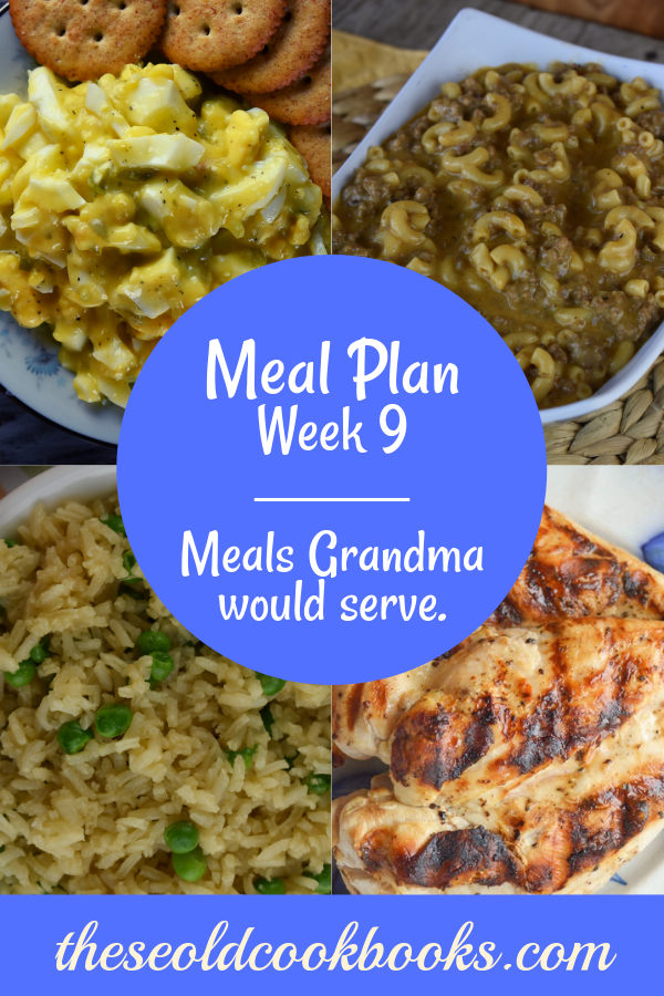 The Weekly Meal Plan for Week 9 includes Easiest Grilled Chicken Ever, Fresh Broccoli Casserole, Dirty White Russian Cocktail, Instant Pot Sweet and Sour Pork, Rice Pilaf with Peas, Baked Oatmeal, Chicken Bow Tie Pasta Salad, Flank Steak Salad, Cheesy Taco Dip, Frisco Melt Hamburger Helper, Egg Salad without Mayo, Tangy Wilted Kale and Bacon, and Salmon Casserole.
