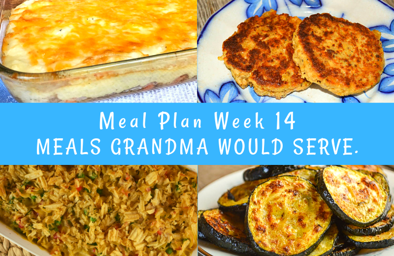 The Weekly Meal Plan for Week 14 includes Thai Chicken Wraps, Jalapeno Pineapple Limeade, Crock Pot 20 Clove Garlic Chicken, French Onion Rice Casserole, Ham Salad Spread, Spicy Roasted Zucchini, Crock Pot Enchiladas, Ground Beef Shepherd's Pie, Chicken Noodle Casserole, Classic Salmon Patties and Macaroni Salad.