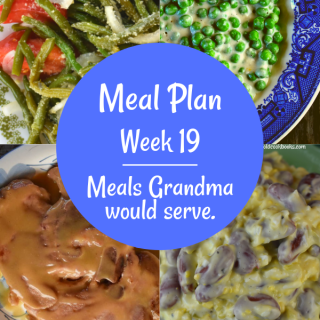 The Weekly Meal Plan for Week 18 includes Instant Pot Buttery Chicken and Italian Green Bean Salad, Loaded Breakfast Casserole and Pumpkin Chocolate Chip Muffins, 12 Minute Old Fashioned Ham Steak, Creamed Peas and Red Bean Salad, Cheesy Mexican Chicken and Velveeta Dip with Black Beans, Grandma's Chicken and Rice Casserole, Crock Pot Apple Crisp Pork Chops, and Cheesy Smoked Sausage and Vegetable Casserole.