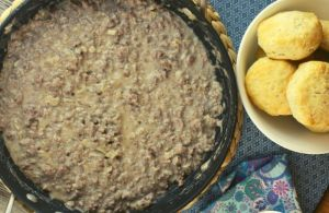 Mom's Hamburger Gravy is our go-to dinner when we are short of time and starving.  The ingredients are probably already in your refrigerator and pantry, and you can have dinner on the table in 20 minutes flat.