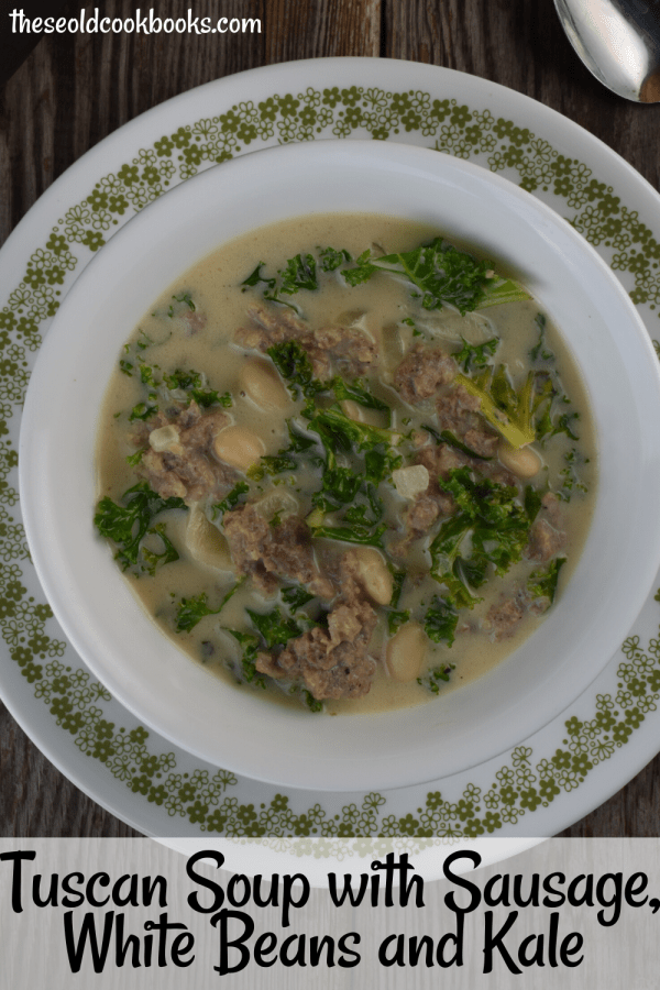 Tuscan Soup with Kale and Sausage is hearty soup that can be served up in thirty minutes. This recipe features pork sausage, cannellini beans, and kale with a creamy broth made with a combination of chicken broth and evaporated milk.