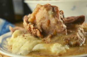 Our version of Crock Pot Pork Roast with Gravy only has 3 ingredients---pork roast, cream of mushroom soup, and condensed French Onion Soup.
