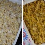 What's special about Chicken Crunch Casserole? The crunchy texture comes from water chestnuts, almonds and celery and a topping of crushed potato chips.
