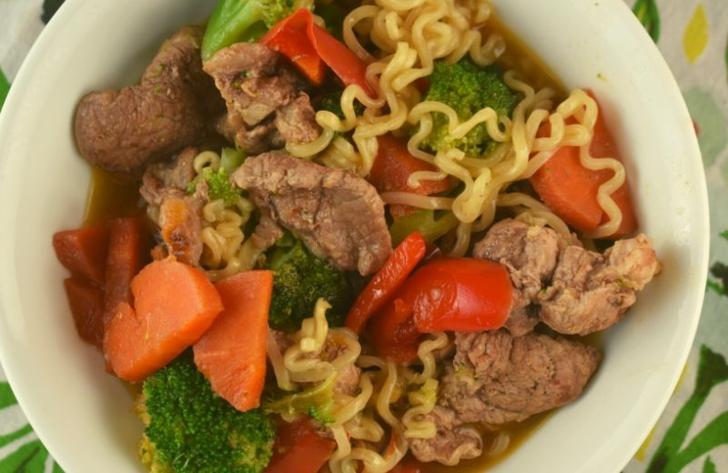 Pork Ramen Dinner is an easy stir-fry skillet meal that can be on the table in twenty minutes. Budget-friendly ramen packets are transformed into a delicious and nutritious meal.