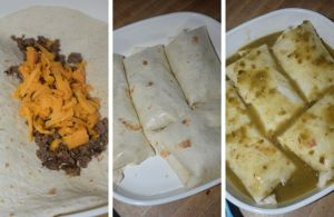 Ground Beef Burritos is a simple Mexican-inspired dinner with only five simple ingredients. Flour tortillas are filled with a mixture of ground beef and shredded cheese, and then topped with an easy green chili sauce made of salsa verde and green enchilada sauce. Your family will be licking their plates and begging for more!