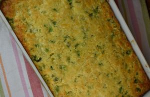Broccoli Cornbread Bake is an easy side dish casserole that uses a box Jiffy mix.  The result is a tasty dish that's feeds a crowd---the perfect holiday side dish.