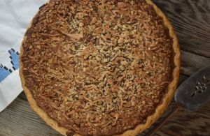 Southern Sweet Chocolate Pie is a homemade baked chocolate pie topped with chopped pecans and coconut. It's all the flavors of your favorite German Chocolate Cake in a decadent pie. This old fashioned chocolate pie is Grandma approved!