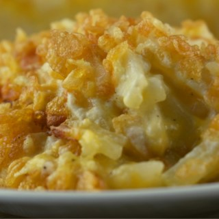 Potato Casserole with Rice Krispies is a cheesy hash brown casserole with a crispy, crunchy topping. Often called Funeral Potatoes, this is the perfect side dish for almost any entrée.