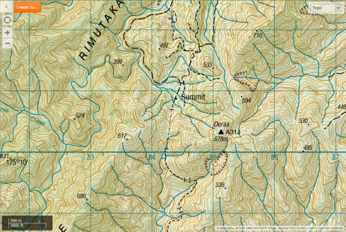 Topo Map showing the Summit of the Rimutaka Cycle Trail