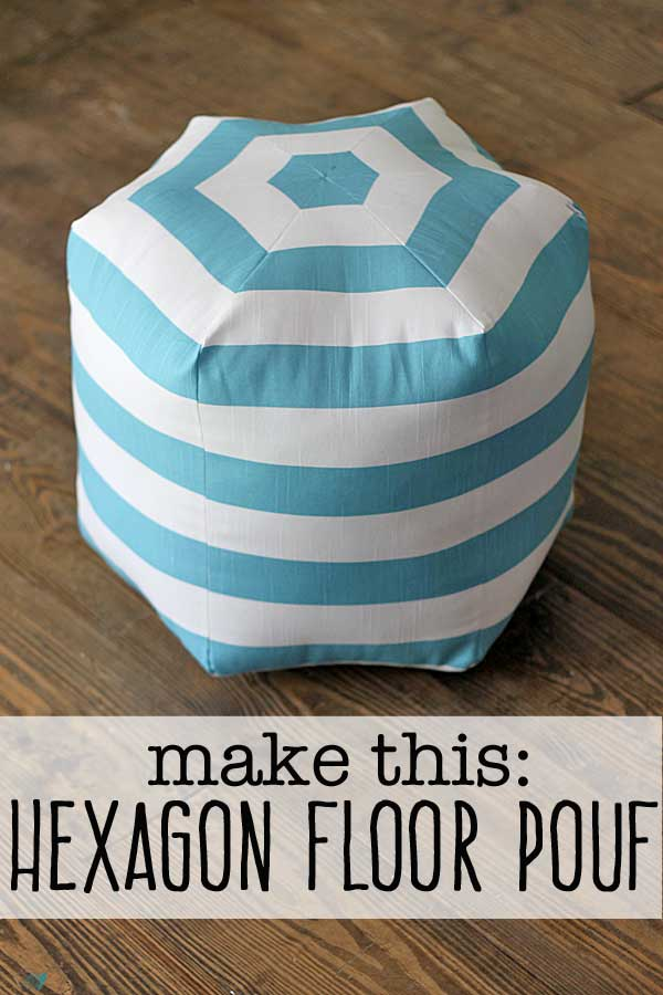 30 Colorful Hexagon Projects to Sew featured by top US sewing blog, Flamingo Toes: DIY floor pouf tutorial (takes about an hour)