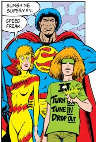 Earth 47's Love Syndicate of Dreamworld: Speed Freak, Sunshine Superman, and Magic Lantern.