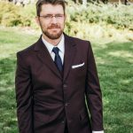 three-button maroon wedding suit