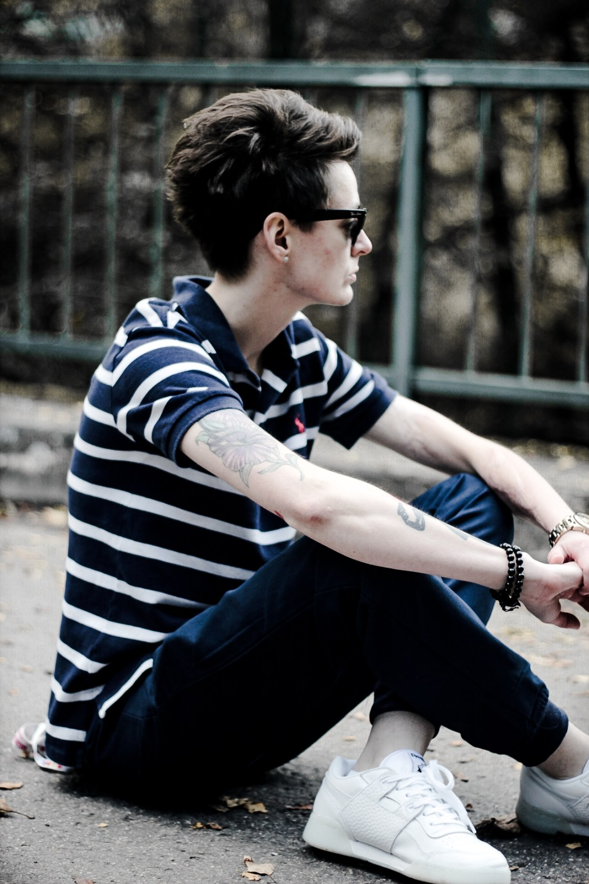 striped outfit androgynous style