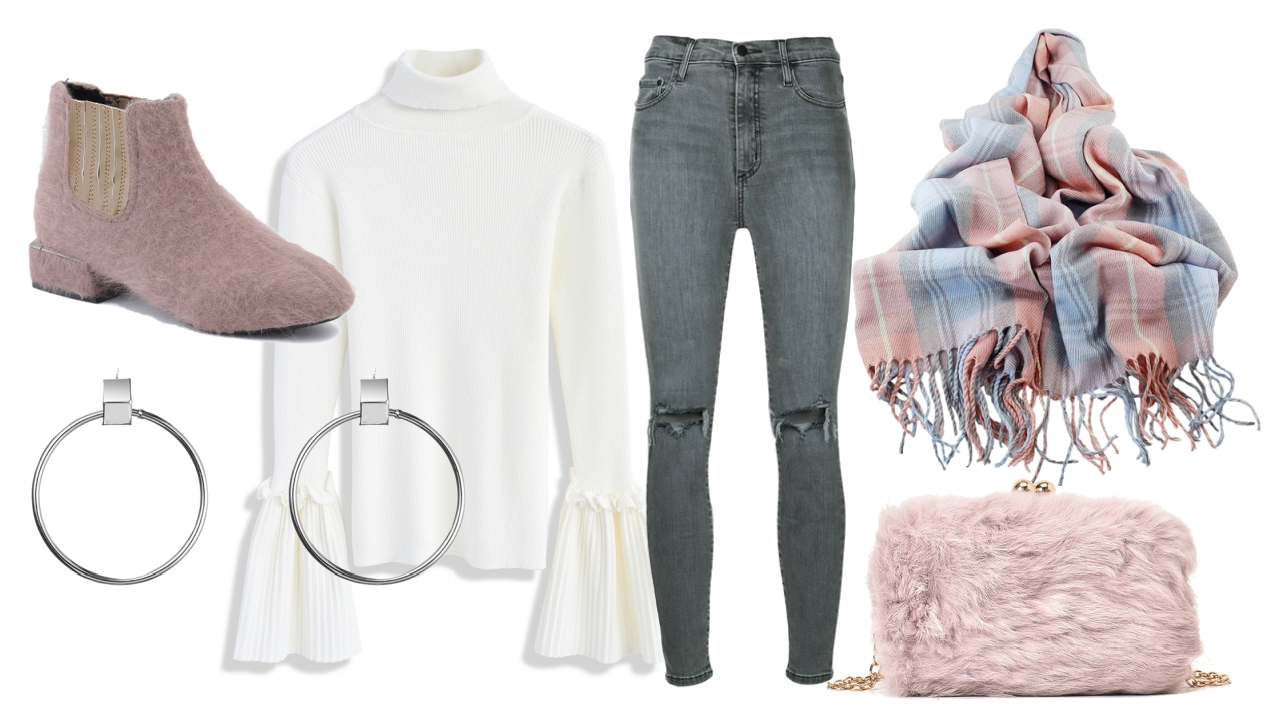 basic style with a soft touch of pink