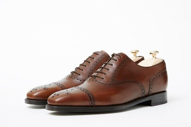 J.FitzPatrick Windermere semi brogue cap toe mocha brown
