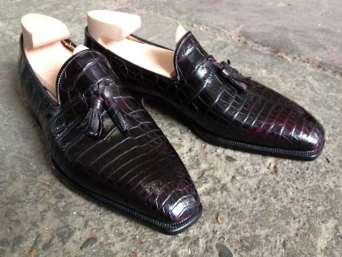 Riccardo Bestetti whole cut tassel loafer crocodile 2