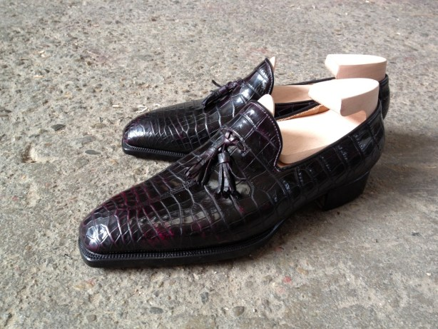 Riccardo Bestetti whole cut tassel loafer crocodile