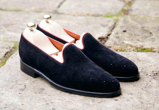 Laurelhurst black suede, red piping adjustment