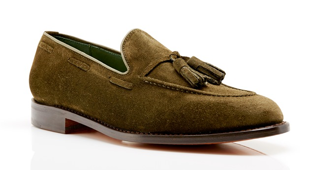 Kimber-Shoes green suede tassel loafers