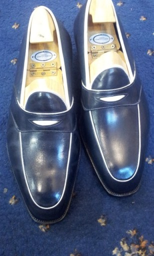 George Cleverley Bespoke navy loafers