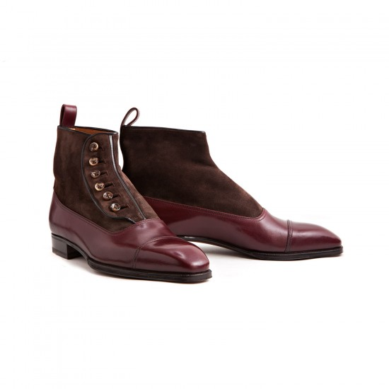 Enzo Bonafe Button Boots Burgundy