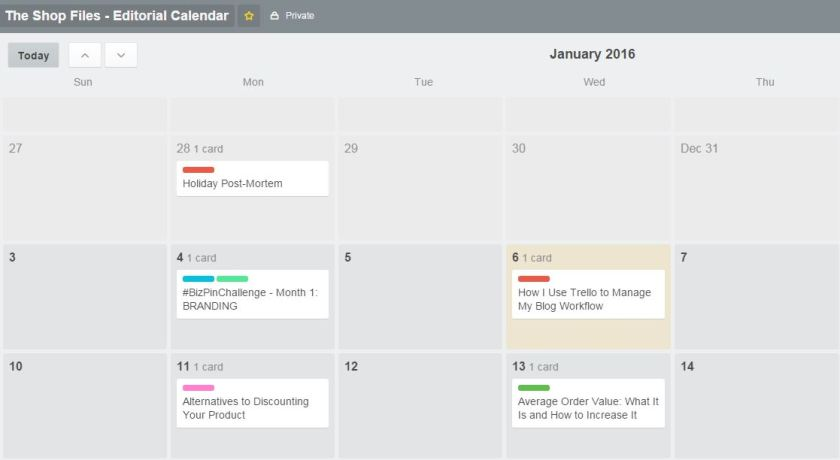 How to Organize Blog Ideas with Trello - Trello - Editorial Calendar View