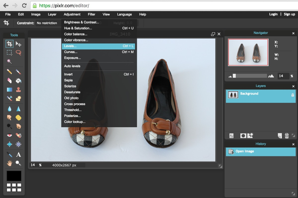 Using Pixlr to Edit White Background in Product Photos - Levels