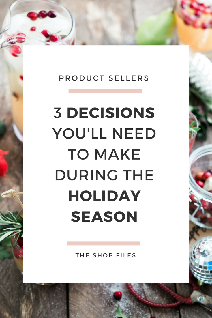 The busy holiday selling is almost here... and there's 3 big decisions product sellers will need to make during the busy holiday season... will you be prepared- - How to have your best holiday sales