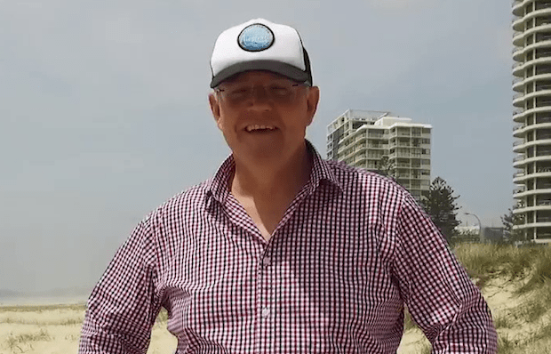 scott morrison wearing a stupid cap